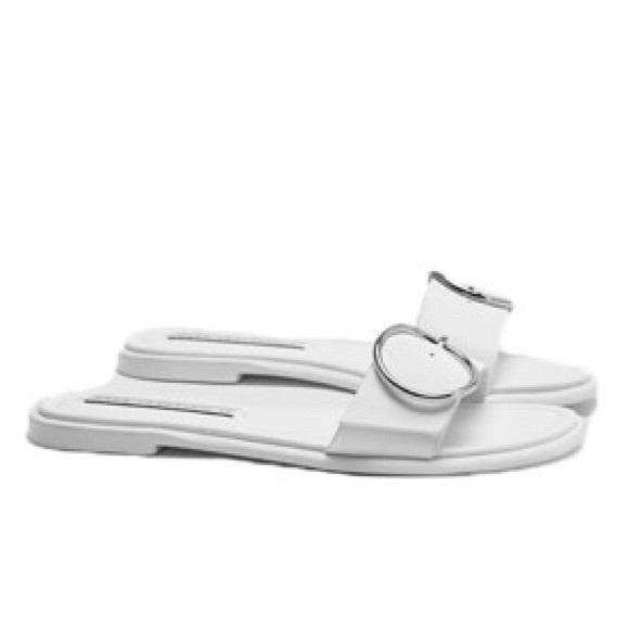 Nwt Zara White Buckle Sandal